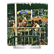 Lunch Party At The La Belle Gueule Brasserie Terrace - Park Your Bike And Enjoy The Sunny Day Shower Curtain
