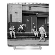Lunch Time In Black And White Shower Curtain