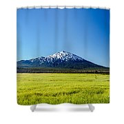 Lush Green Meadow And Mount Bachelor Shower Curtain