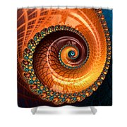 Luxe Fractal Spiral Brown And Blue Shower Curtain