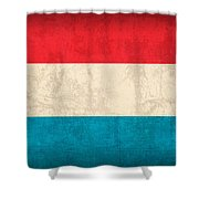 Luxembourg Flag Vintage Distressed Finish Shower Curtain