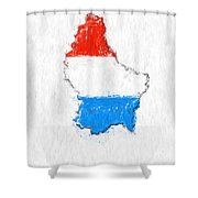 Luxembourg Painted Flag Map Shower Curtain