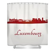 Luxembourg Skyline In Red Shower Curtain