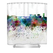 Luxembourg Skyline In Watercolor On White Background Shower Curtain