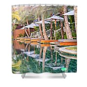Luxury Pool With Loungers Shower Curtain