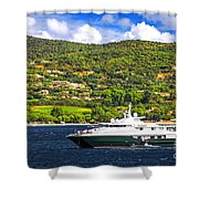Luxury Yacht At The Coast Of French Riviera Shower Curtain