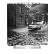 Lye Rain Storm, Morris Mini Car - 1960's    Ref-246 Shower Curtain