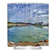 Lyme Regis Harbour -- Painterly Shower Curtain