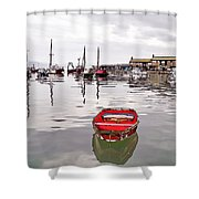 Lyme Regis Harbour Abstract Shower Curtain