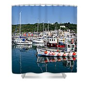 Lyme Regis Harbour On A July Morning Shower Curtain