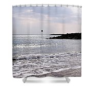 Lyme Regis Seascape - March Shower Curtain