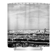 Lyon From The Basilique De Fourviere-bw Shower Curtain
