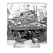 M 4 Sherman Break Out From Normandy Shower Curtain