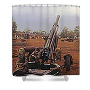 M102 105mm Light Towed Howitzer  2 9th Arty At Lz Oasis R Vietnam 1969 Shower Curtain
