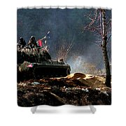 M48 Tanks An Tankers On The Job In Korean War Shower Curtain
