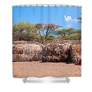 Maasai Huts In Their Village In Tanzania Shower Curtain