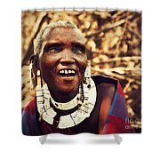 Maasai Old Woman Portrait In Tanzania Shower Curtain
