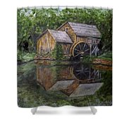 Mabry Mill Oil On Slate Shower Curtain