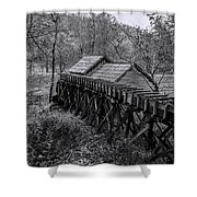 Mabry Mill Water Shute In Black And White Shower Curtain