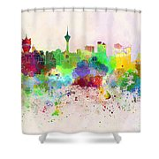 Macau Skyline In Watercolor Background Shower Curtain