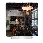 Machine Shop With Lantern Shower Curtain