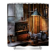 Machinist - My Workstation Shower Curtain by Mike Savad