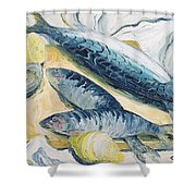 Mackerel With Oysters And Lemons, 1993 Oil On Paper Shower Curtain
