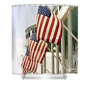 Mackinac Island Michigan - The Grand Hotel - American Flags Shower Curtain