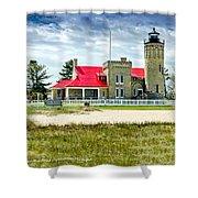 Mackinac Point Lighthouse Michigan Shower Curtain