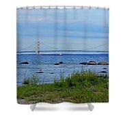 Mackinaw Bridge At Dusk Shower Curtain