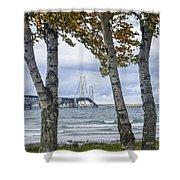 Mackinaw Bridge In Autumn By The Straits Of Mackinac Shower Curtain