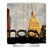 Macy's With Empire State Building - Famous Buildings And Landmarks Of New York City Shower Curtain
