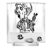 Mad Hatter Shower Curtain by Donna Haggerty