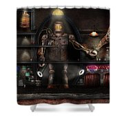 Mad Scientist - The Enforcer Shower Curtain by Mike Savad