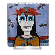 Madame Dragonfly Day Of The Dead Shower Curtain