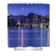 Madison Skyline Reflection Shower Curtain by Sebastian Musial
