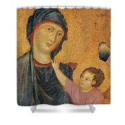 Madonna And Child Enthroned  Shower Curtain