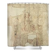 Madonna And Child Enthroned, Drawing For A Fresco Sinopia On Paper Shower Curtain