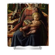 Madonna And Child Enthroned With Two Angels Shower Curtain