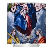 Madonna And Child With Saint Martina And Saint Agnes Shower Curtain
