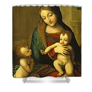 Madonna And Child With The Infant Saint John Shower Curtain by Antonio Allegri Correggio