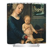 Madonna And Child With The Milk Soup Shower Curtain