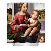 Madonna And Child With The Young Saint John The Baptist Shower Curtain