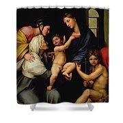 Madonna Dell'impannata Shower Curtain by Raphael