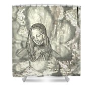 Madonna On Black And White Screen Shower Curtain