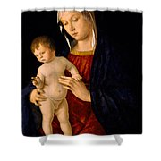 Madonna With The Child Blessing Shower Curtain by Giovanni Bellini