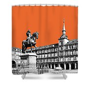 Madrid Skyline Plaza Mayor - Coral Shower Curtain