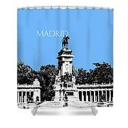 Madrid Skyline Retiro Park - Light Blue Shower Curtain