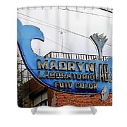 Madryn Lab Whale Sign Shower Curtain