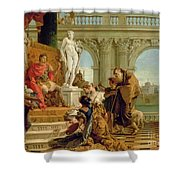 Maecenas Presenting The Liberal Arts To The Emperor Augustus Shower Curtain